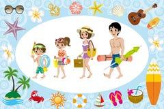 Famille de vêtements de bain et icône de mer Photo libre de droits