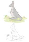 Famille de vecteur de kangourou Images libres de droits