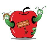 Famille de ver de terre à la pomme illustration stock