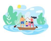 Famille de week-end d'été sur le beau vecteur de lac illustration de vecteur