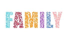 FAMILLE de Word Police décorative avec des remous et l'OIN florale d'éléments illustration libre de droits