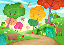 Famille des animaux dans le bois illustration libre de droits