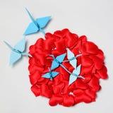 Famille des grues de papier de l'origami Images stock