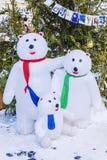 Famille des ours blancs Sapin de fête de décoration de Noël Photographie stock libre de droits