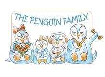 Famille des pingouins avec le cadre et le lettrage illustration stock