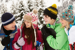 Famille des vacances de ski en montagnes Photos stock