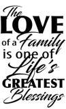 Famille disant la citation illustration stock