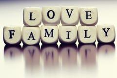 Famille en bois de cube en textes Photographie stock libre de droits