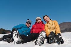 Famille en de l'hiver verticale ensemble - Images stock