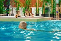 Famille en piscine Images stock