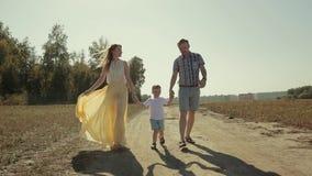 Famille ensoleillée marchant le long de la route de campagne banque de vidéos