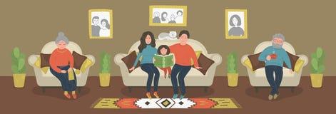 Famille entière ensemble illustration de vecteur