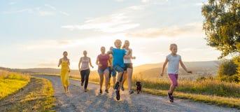 Famille espiègle courant et jouant sur un chemin dans le paysage d'été Photographie stock