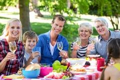Famille et amis ayant un pique-nique Photos stock