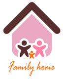 Famille et concept à la maison. Icône et maison de famille de silhouette. Photographie stock libre de droits