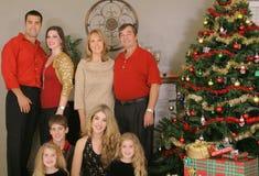 Famille et enfants de Joyeux Noël images libres de droits