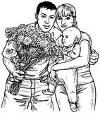 Famille et fleurs illustration de vecteur