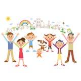 Famille et paysage urbain heureux Image libre de droits