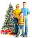Famille et un arbre de Noël Photos libres de droits