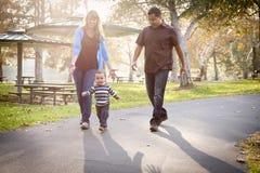 Famille ethnique heureuse de chemin mélangé marchant en stationnement Photos stock