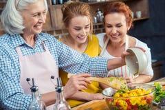 Famille faisant cuire ensemble dans la cuisine Photos stock