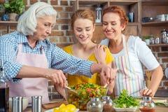 Famille faisant cuire ensemble dans la cuisine Images stock
