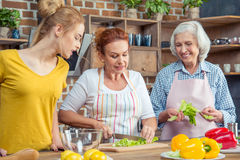 Famille faisant cuire ensemble dans la cuisine Image stock