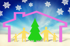 Famille forte heureuse dans des vacances de nouvelle année Images stock