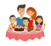 Famille heureuse à la table Célébration, concept tableful Illustration de vecteur de dessin animé illustration de vecteur