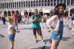 Famille heureuse à Venise Images libres de droits