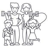 Famille heureuse active dans la ligne icône, signe, illustration de vecteur de gymnase de sport sur le fond, courses editable Image libre de droits