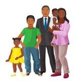 Famille heureuse afro-américaine des parents et de trois enfants Photo stock