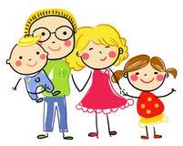Famille heureuse avec le père, la mère, et la participation de fils Photos libres de droits