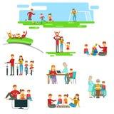 Famille heureuse ayant l'amusement ensemble réglé des illustrations illustration stock