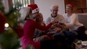 Famille heureuse célébrant le réveillon de Noël banque de vidéos