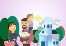 Famille heureuse célébrant Pâques heureux Image stock
