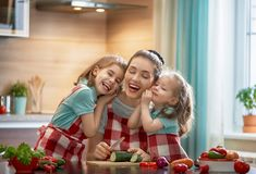 Famille heureuse dans la cuisine Photo libre de droits