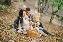 Famille heureuse dans une forêt d'automne Photos libres de droits