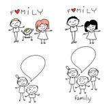 Famille heureuse de bande dessinée de dessin de main Photo libre de droits