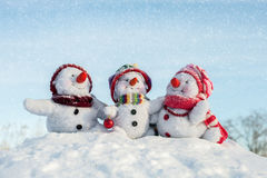 Famille heureuse de bonhomme de neige Image libre de droits