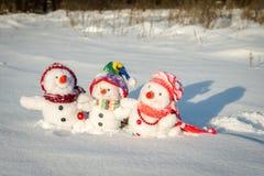 Famille heureuse de bonhomme de neige Photographie stock