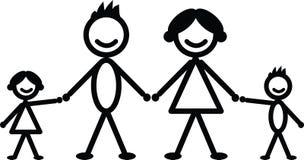 Famille heureuse de bâton Images libres de droits
