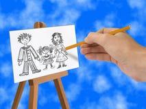 Famille heureuse de dessin Photo stock