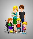 Famille heureuse de dessin animé Images libres de droits