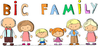 Famille heureuse de dessin animé, vecteur Image stock