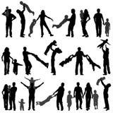 Famille heureuse de silhouette Image stock