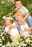 Famille heureuse de source d'extérieur image libre de droits