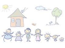 Famille heureuse en couleurs Image libre de droits