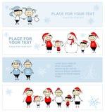 Famille heureuse ensemble, drapeau de vacances de Noël Photo libre de droits