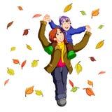 Famille heureuse ensemble l'automne jouant avec des feuilles illustration libre de droits